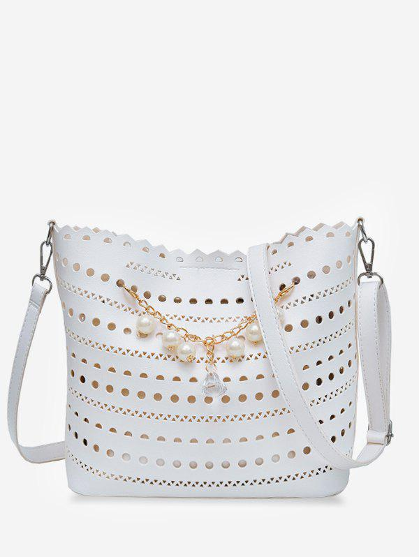 2 Pieces Cut Out Faux Pearl Chain Crossbody Bag Set pineapple shape cut out crossbody bag