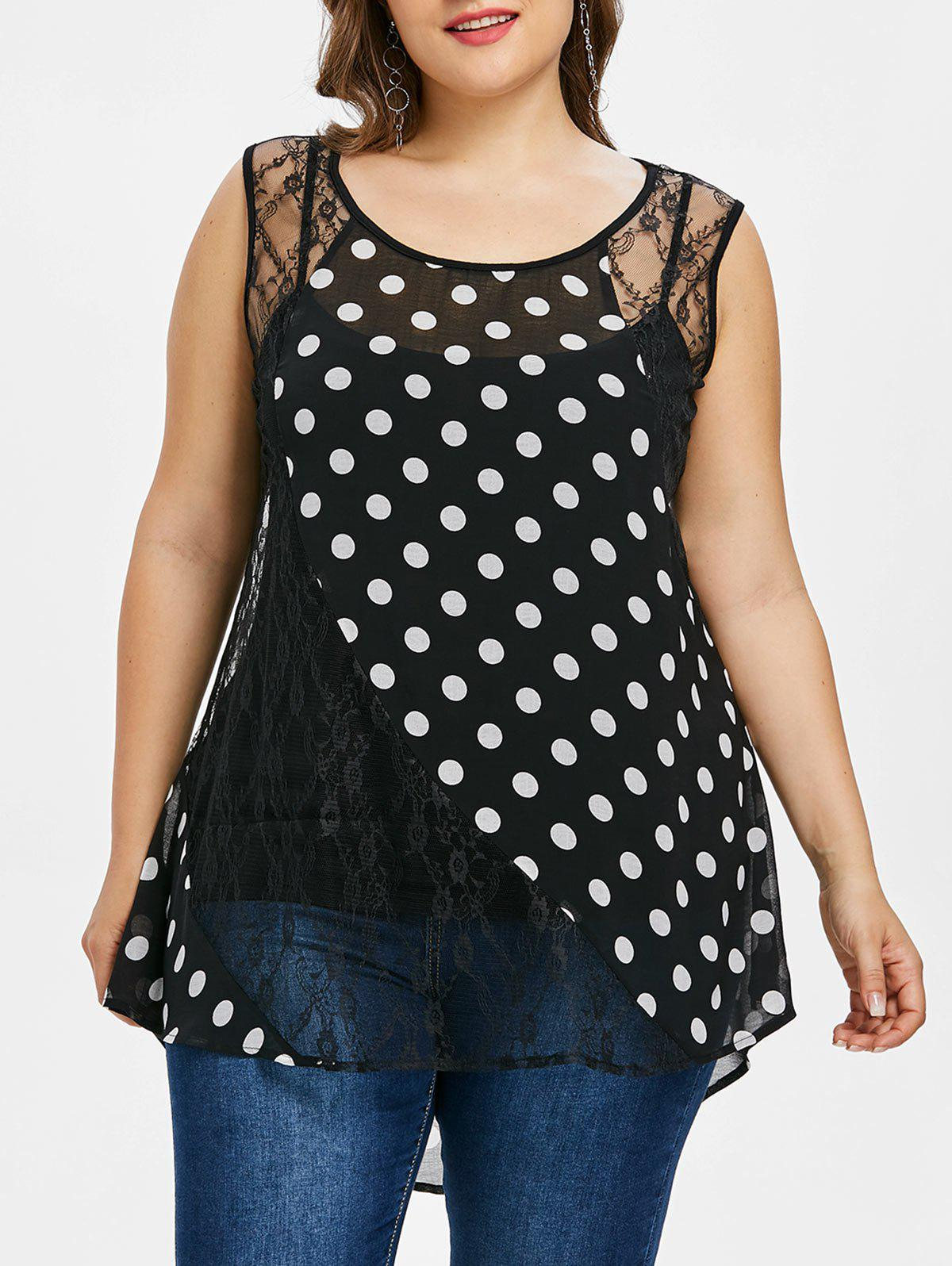 Plus Size Polka Dot Dip Hem Tank Top plus size polka dot button tank top