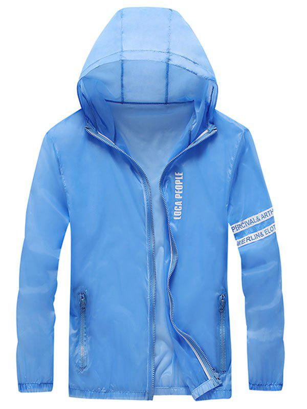 Zip Up Letter Print Hooded Sunscreen Jacket - SILK BLUE XL