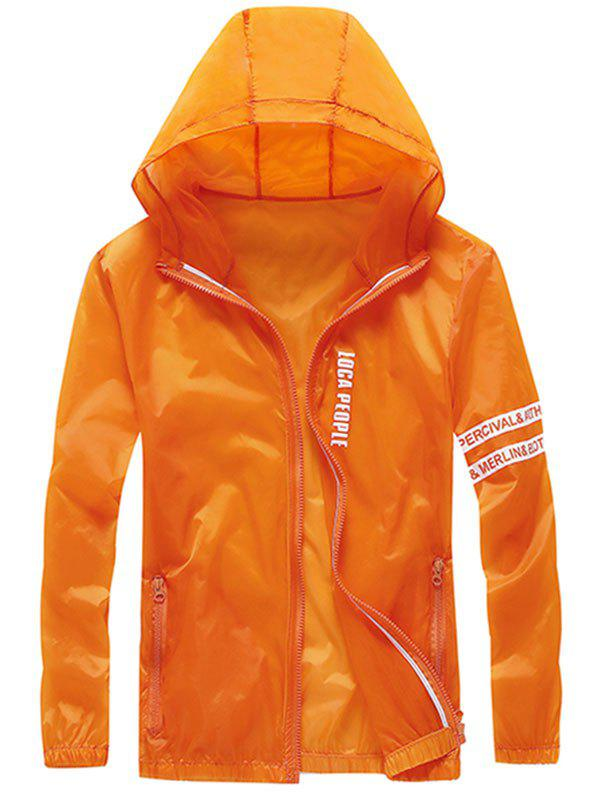 Zip Up Letter Print Hooded Sunscreen Jacket - PAPAYA ORANGE 2XL