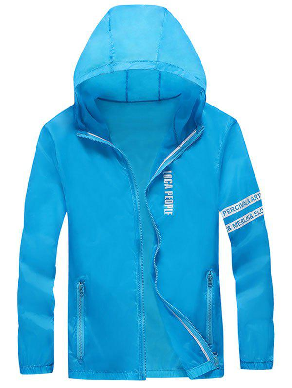 Zip Up Letter Print Hooded Sunscreen Jacket - DEEP SKY BLUE XL
