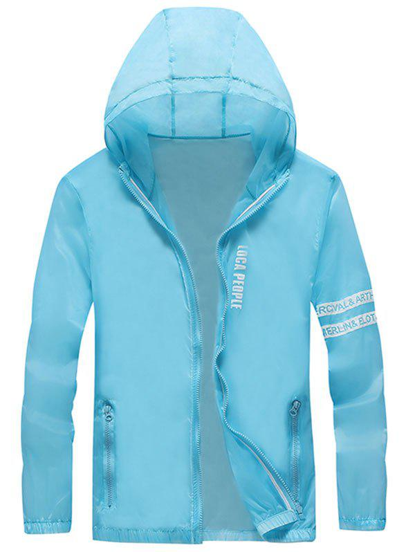 Zip Up Letter Print Hooded Sunscreen Jacket - DAY SKY BLUE 2XL