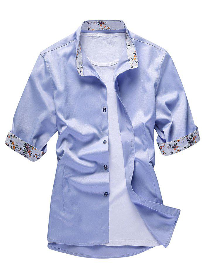 Flower Print Panel Half Sleeve Shirt - LIGHT BLUE L