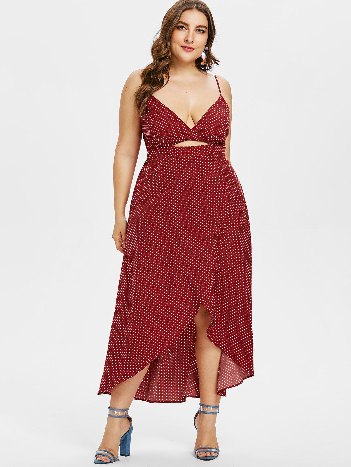 Plus Size Maxi High Low Polka Dot Dress - RED WINE 3X