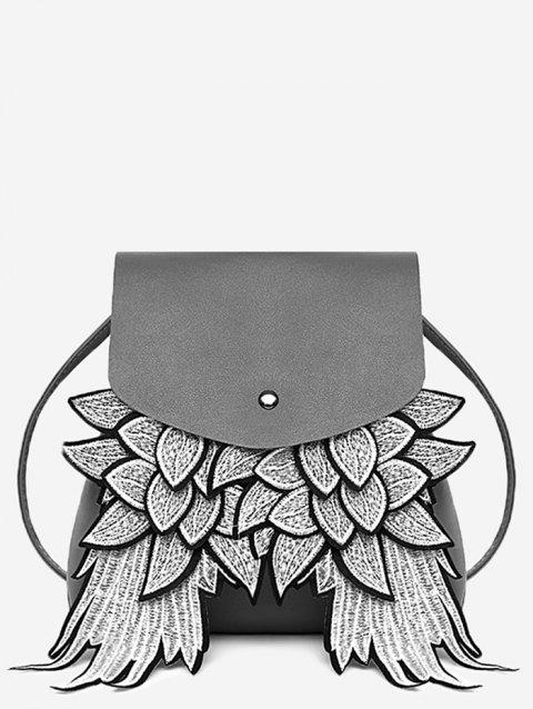 PU Leather Wings Crossbody Bag - GRAY