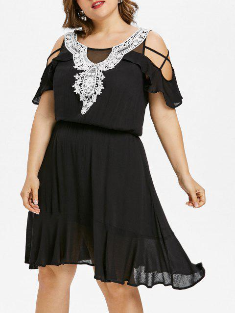 Plus Size Open Shoulder Breezy Dress - BLACK 5X