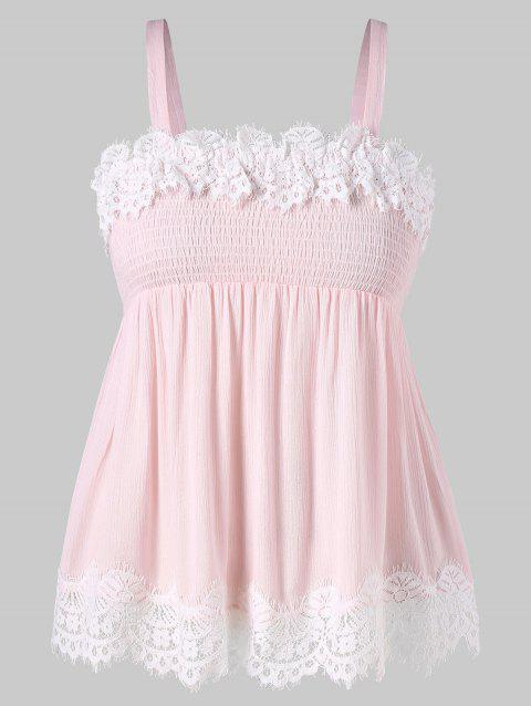 Plus Size Smocked Lace Panel Scalloped Tank Top - LIGHT PINK L