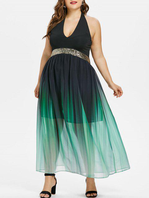 Plus Size Glittery Ombre Maxi Flowing Dress - BLACK 2X