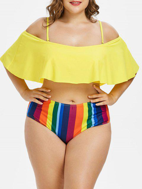 Plus Size Striped Cold Shoulder Bikini Set - multicolor 3X