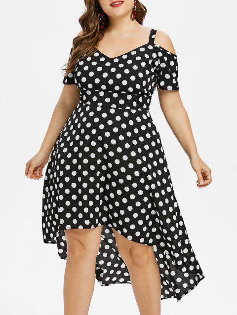 Polka Dot Cold Shoulder Plus Size Dress - BLACK L