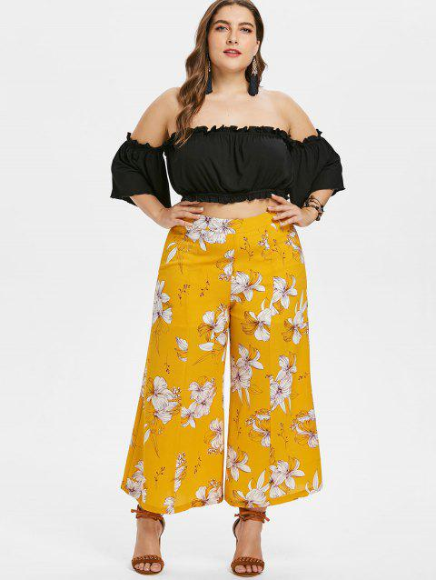 Plus Size Crop Top and Floral Pants Set - BEE YELLOW 1X