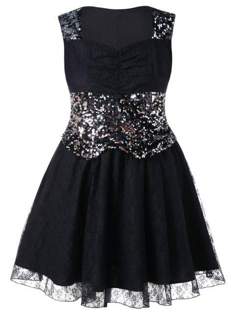 Sweetheart Neck Lace Plus Size Dress - BLACK 2X
