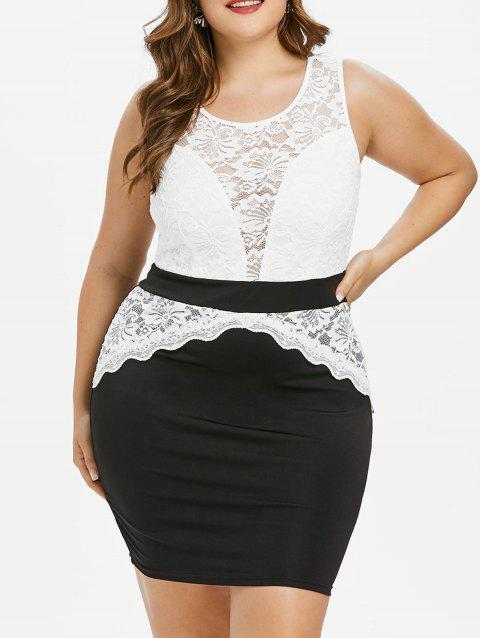1e67832975 LIMITED OFFER  2019 Plus Size Lace Panel Sleeveless Mini Dress In ...