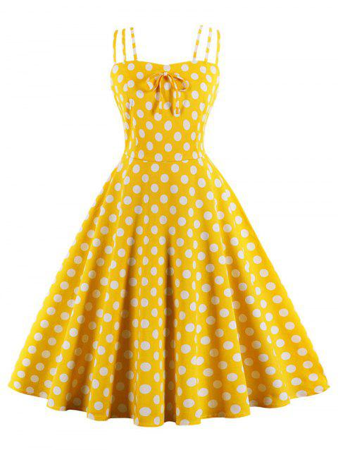 Retro Spaghetti Strap Polka Dot Pin Up Dress - MUSTARD S