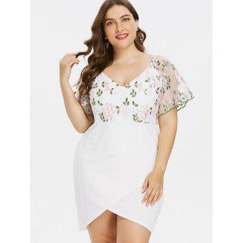 Plus Size Bell Sleeve Embroidery Mini Dress - WHITE 5XL