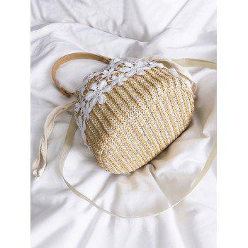 Straw Lace Detail Vacation Style Hand Bag - LIGHT KHAKI