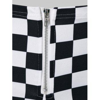 Zipper Fly Mini Checkered Shorts - WHITE XL