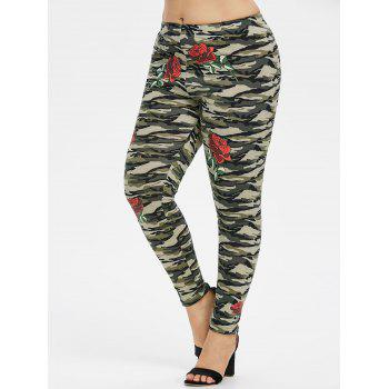 Plus Size Floral Camo Leggings - ARMY GREEN 4X