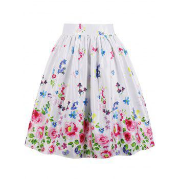 High Waist Floral Skater Skirt - WHITE S