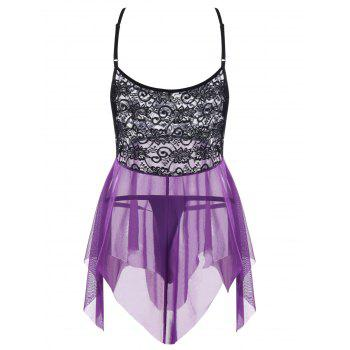 Plus Size Lace Panel Handkerchief Hem Lingerie Dress - PURPLE XL
