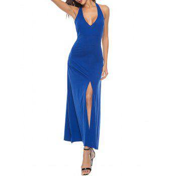 Sleeveless High Split Backless Long Dress - COBALT BLUE 2XL