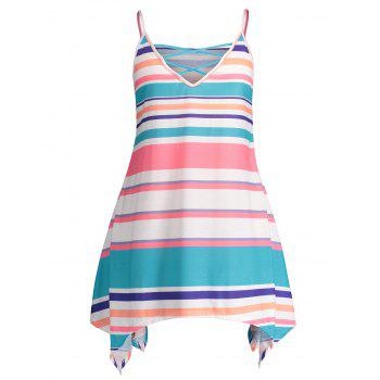 Plus Size Stripes Cami Dress - multicolor L