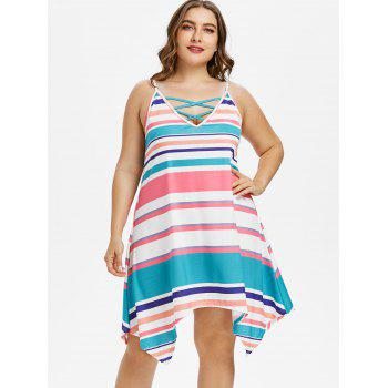 Plus Size Stripes Cami Dress - multicolor 3X