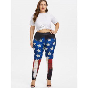 Plus Size Stretchy American Flag Leggings - multicolor 5X