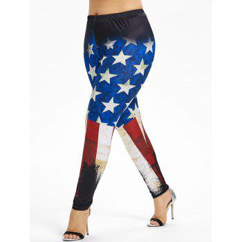 Plus Size Stretchy American Flag Leggings - multicolor 4X