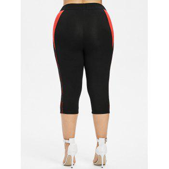 Plus Size Two Tone Lace Trim Capri Leggings - BLACK 3X