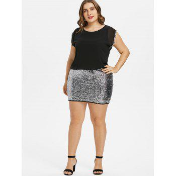 Plus Size Glittery Sleeveless Tight Dress - BLACK L