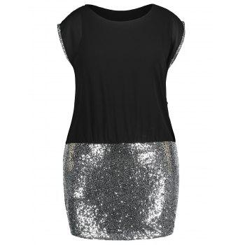 Plus Size Glittery Sleeveless Tight Dress - BLACK 3X