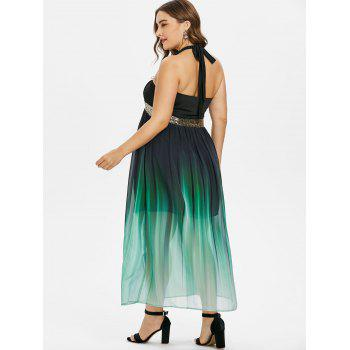 Plus Size Glittery Ombre Maxi Flowing Dress - BLACK 1X