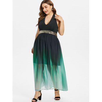 Plus Size Glittery Ombre Maxi Flowing Dress - BLACK 4X