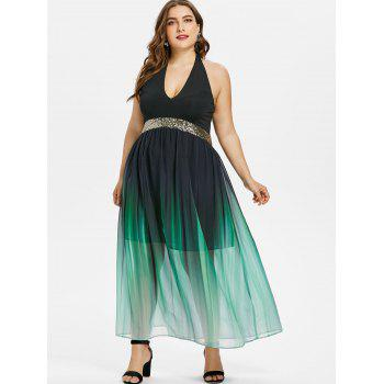 Plus Size Glittery Ombre Maxi Flowing Dress - BLACK 3X