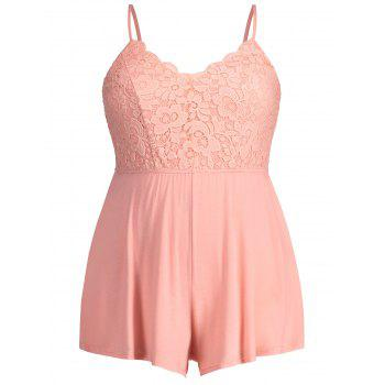 Plus Size Scalloped Lace Trim Cami Romper - LIGHT PINK 4X