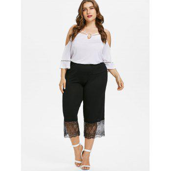 Plus Size Lace Insert Wide Leg Leggings - BLACK 2X