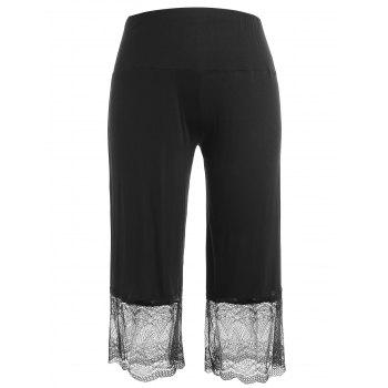 Plus Size Lace Insert Wide Leg Leggings - BLACK 3X