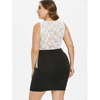 Plus Size Lace Panel Sleeveless Mini Dress - BLACK 3X
