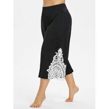 Plus Size Color Block Lace Cropped Pants - BLACK 2X