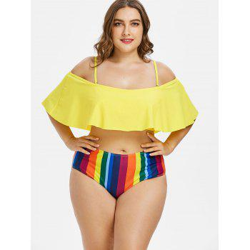 Plus Size Striped Cold Shoulder Bikini Set - multicolor 4X
