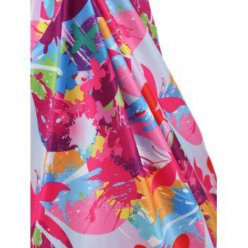 Empire Waist Butterfly Print Tank Top - multicolor M