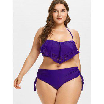Plus Size High Waisted Cutwork Bikini Set - PURPLE 3X