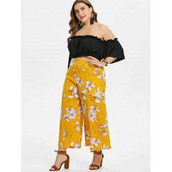 Plus Size Crop Top and Floral Pants Set - BEE YELLOW 2X
