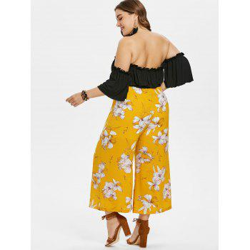 Plus Size Crop Top and Floral Pants Set - BEE YELLOW 3X