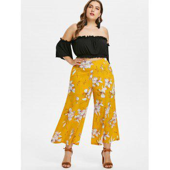 Plus Size Crop Top and Floral Pants Set - BEE YELLOW 4X