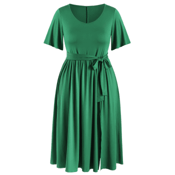 Plus Size Plain Belted Dress - JUNGLE GREEN 1X