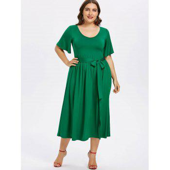 Plus Size Plain Belted Dress - JUNGLE GREEN 3X