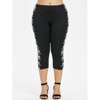 Plus Size Sides Ethnic Print Capri Leggings - BLACK 2X