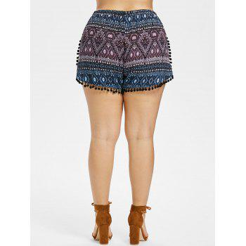 Plus Size Ethnic Print Tassel Shorts - BLACK 1X